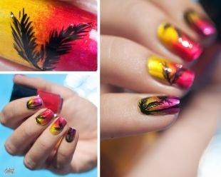Рисунки на ногтях на морскую тематику, стильный омбре-маникюр с пальмами