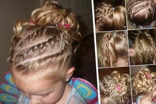 Золотисто русый цвет волос, праздничная детская прическа с косичками