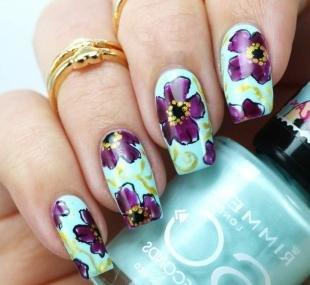 Сиреневый маникюр, летние рисунки на ногтях