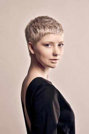 Цвет волос серебристый блондин, короткая женская стрижка для вьющихся волос
