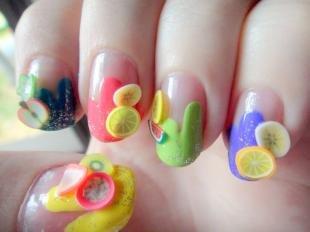 Маникюр с фруктами, разноцветный френч с фимо