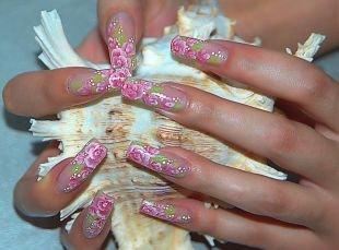 Маникюр с розами, китайская роспись на ногтях - бутонная роза