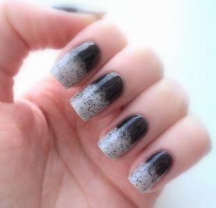 Черно-белый дизайн ногтей, черно-белый градиентный маникюр