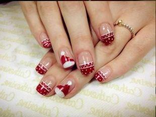 Белые рисунки на ногтях, новогодний маникюр с красным лаком