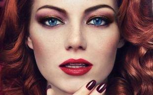 Темный макияж для рыжих, вечерний макияж для голубых глаз
