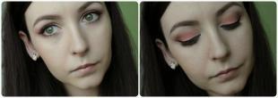 Макияж для далеко посаженных глаз, макияж для серых глаз в персиковых тонах