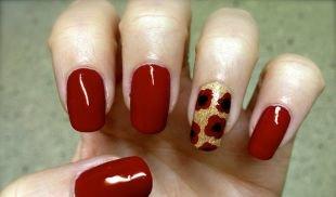 Красный маникюр, двухцветный маникюр с цветочным принтом