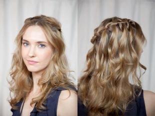 Прическа лесенка на длинные волосы, прически из косичек «французский водопад»