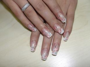 Рисунки сакуры на ногтях, белый френч с цветами