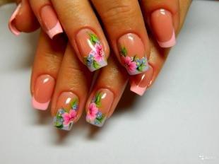 Рисунки с листьями на ногтях, нежно-розовый френч с цветами