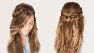 Цвет волос молочный шоколад, прическа на основе распущенных волос с косой-короной
