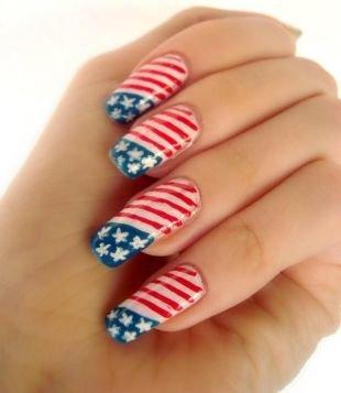Маникюр с флагами, американский флаг на ногтях