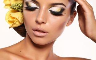 Макияж для тёмно зелёных глаз и тёмных волос, великолепный праздничный макияж для серых глаз