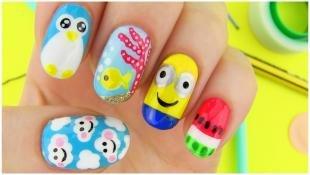 Рисунки смайлики на ногтях, яркий летний маникюр с миньонами