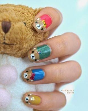 Дизайн ногтей френч, маникюр с мишками