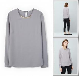 Серые блузки, блуза mango, осень-зима 2016/2017