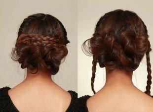 Цвет волос темный шатен, прическа на 1 сентября - двойная коса