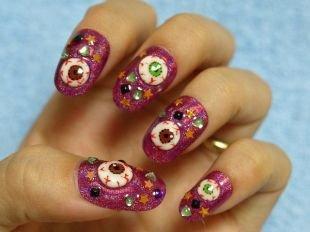 Креативный маникюр, яркий маникюр для ногтей круглой формы
