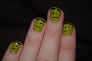 Черные рисунки на ногтях, маникюр с франкенштейном