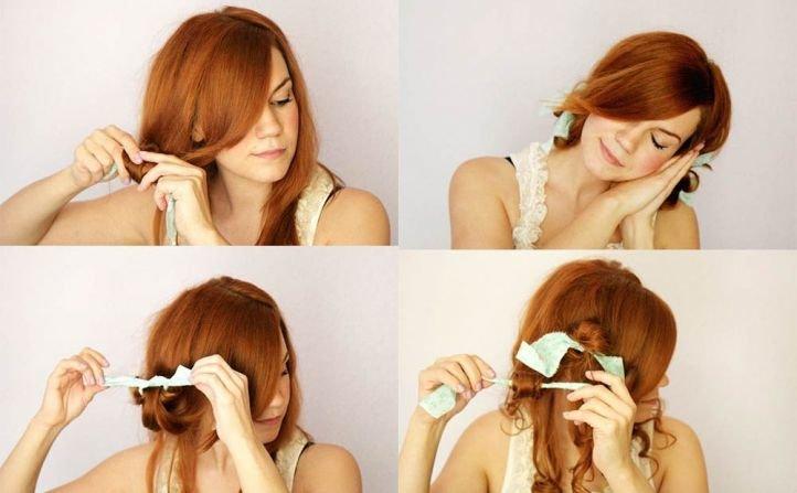 Как накрутить волосы тряпичными бигудями
