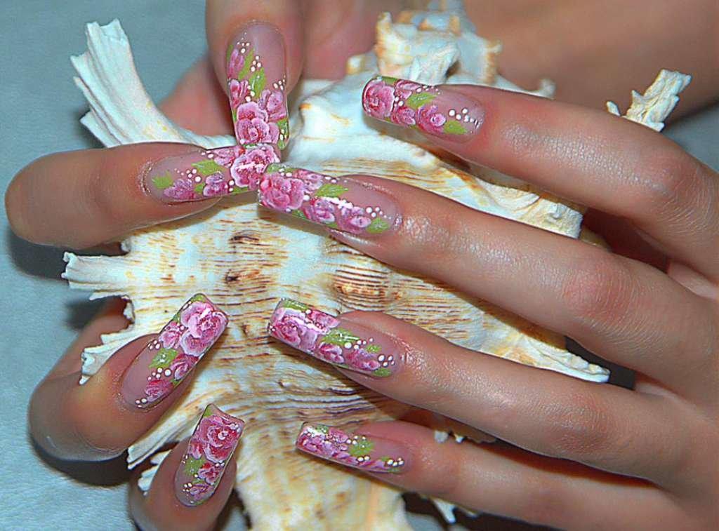 Китайская роспись на ногтях розы фото