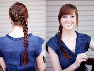 Красно коричневый цвет волос, прическа на 1 сентября - обратная коса по диагонали