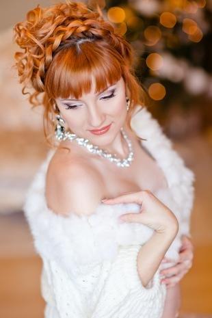 Свадебный макияж с фиолетовыми тенями, свадебный макияж для серых глаз и рыжих волос