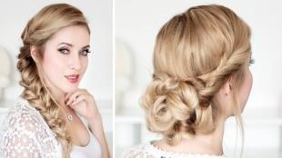 Цвет волос песочный блондин, праздничные прически на длинные волосы