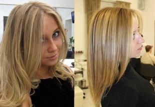 Прическа каскад на средние волосы, классическое мелирование на светлые волосы