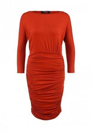 Оранжевые платья, платье edge clothing, осень-зима 2015/2016