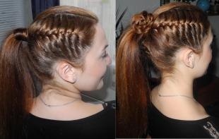 Золотисто каштановый цвет волос, высокий хвост с красивым плетением