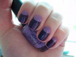 Лунный маникюр шеллаком, лунный маникюр в фиолетовой гамме