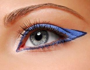 Макияж для голубых глаз с голубыми тенями, удивительный макияж для серых глаз синимии тенями