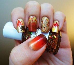 Осенние рисунки на ногтях, необычный осенний маникюр с рисунком и блестками