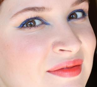 Макияж для карих глаз с нависающим веком, летний макияж с синим карандашом для глаз