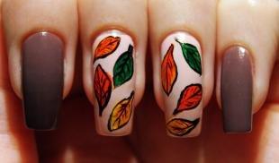 Рисунки с листьями на ногтях, маникюр на осень