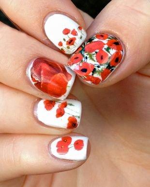 Разноцветный маникюр, маникюр на короткие ногти с красными маками