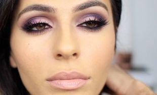 Макияж для выпуклых глаз, макияж для карих глаз в фиолетовой гамме