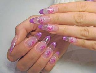 Сиреневый френч, прозрачный фиолетовый френч с розами