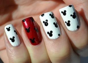Рисунки на красных ногтях, дизайн ногтей с микки маусами