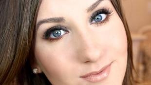 Свадебный макияж для брюнеток, офисный макияж для голубых глаз