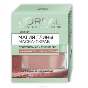 """Эффективный скраб для лица, l'oreal paris маска-скраб для лица """"магия глины"""" отшелушивание и сужение пор, для всех типов кожи, 50 мл"""