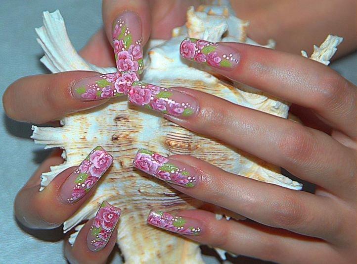 Китайская роспись на ногтях - бутонная роза